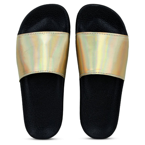 Women Gold Color Synthetic Material  Casual Sliders