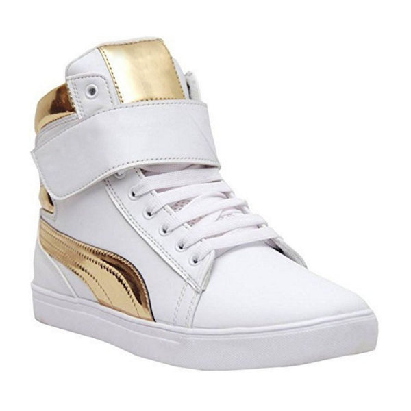 Men's White,Gold Color Synthetic Material  Casual Sneakers