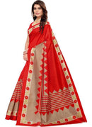 Generic Women's Kalmkari Mysore Silk Saree (Red, 5-6 Mtrs)