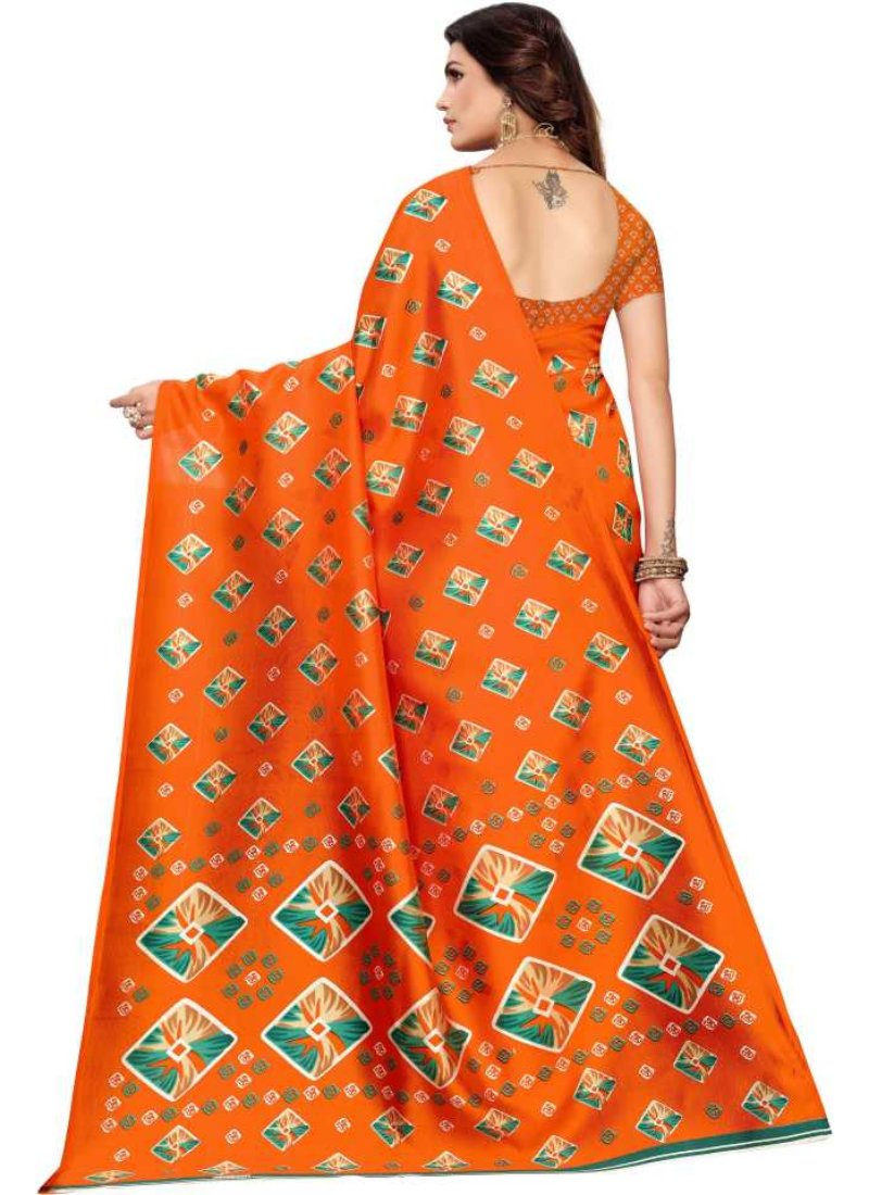 Generic Women's Kalmkari Mysore Silk Saree (Orange, 5-6 Mtrs)