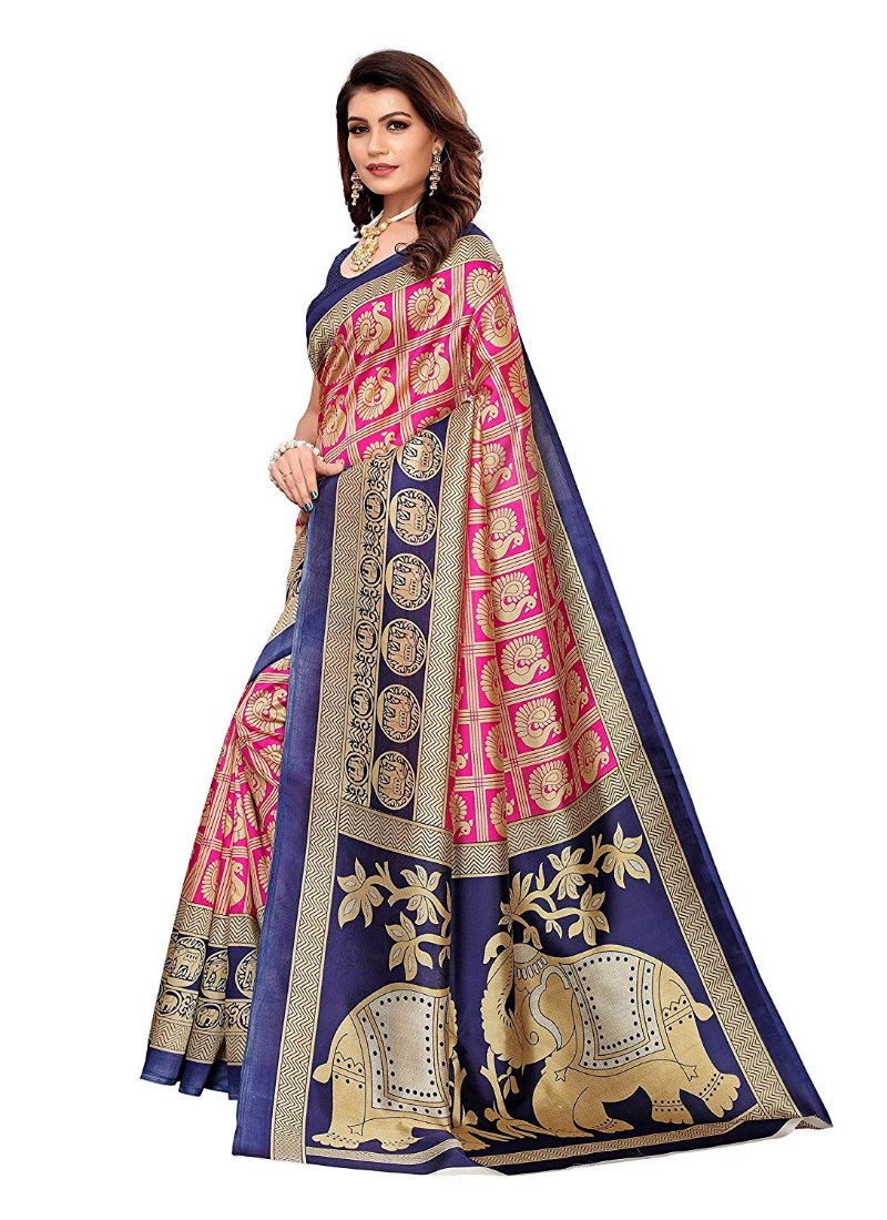 Generic Women's Kalmkari Mysore Silk Saree (Pink and Navy Blue, 5-6 Mtrs)