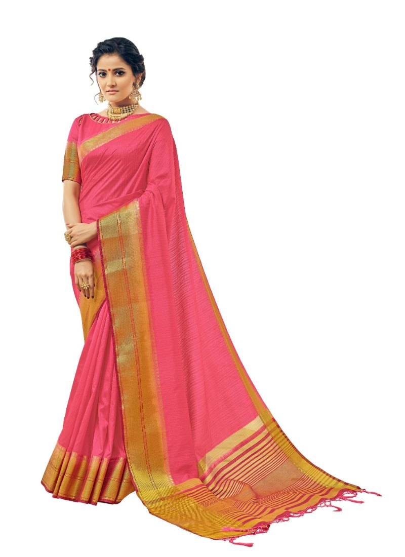 Generic Women's Cotton Art Silk Saree With Blouse (Pink, 5-6 Mtrs)