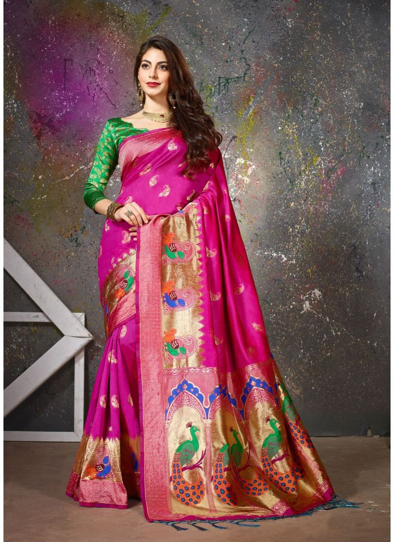 Generic Women's Banarasi Art Silk Saree With Blouse (Pink, 5-6 Mtrs)