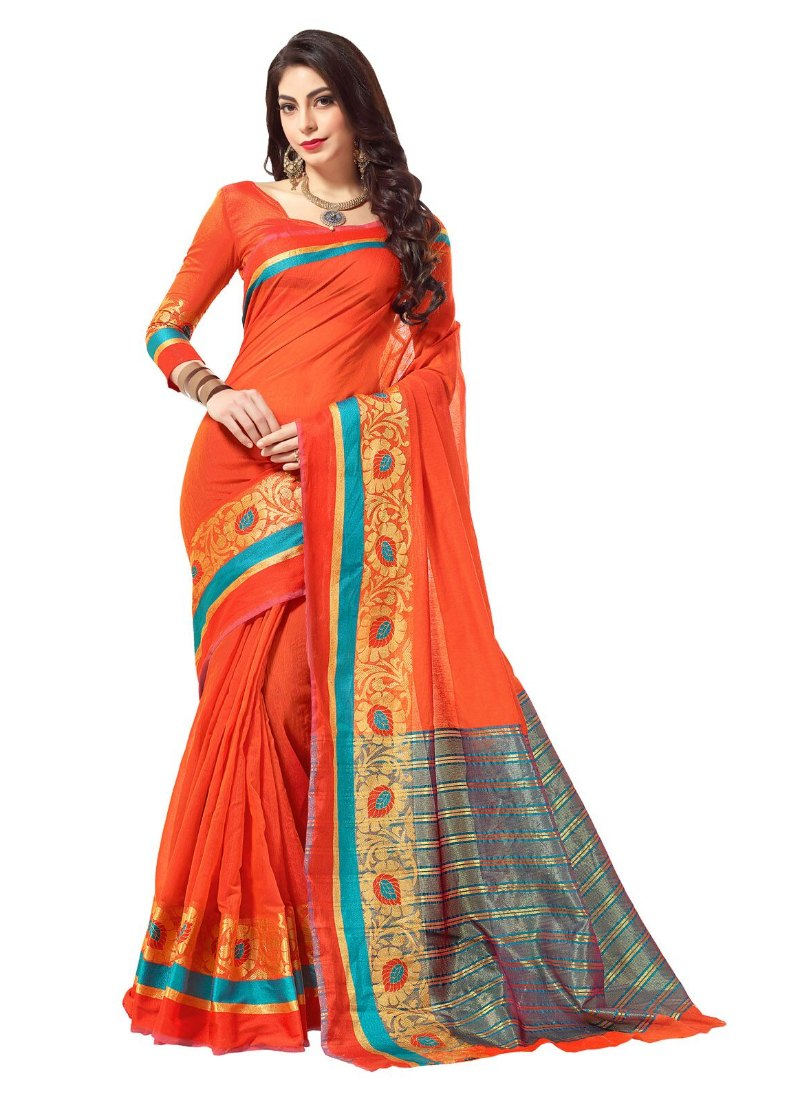 Generic Women's Cotton Art Silk Saree With Blouse (Orange, 5-6 Mtrs)