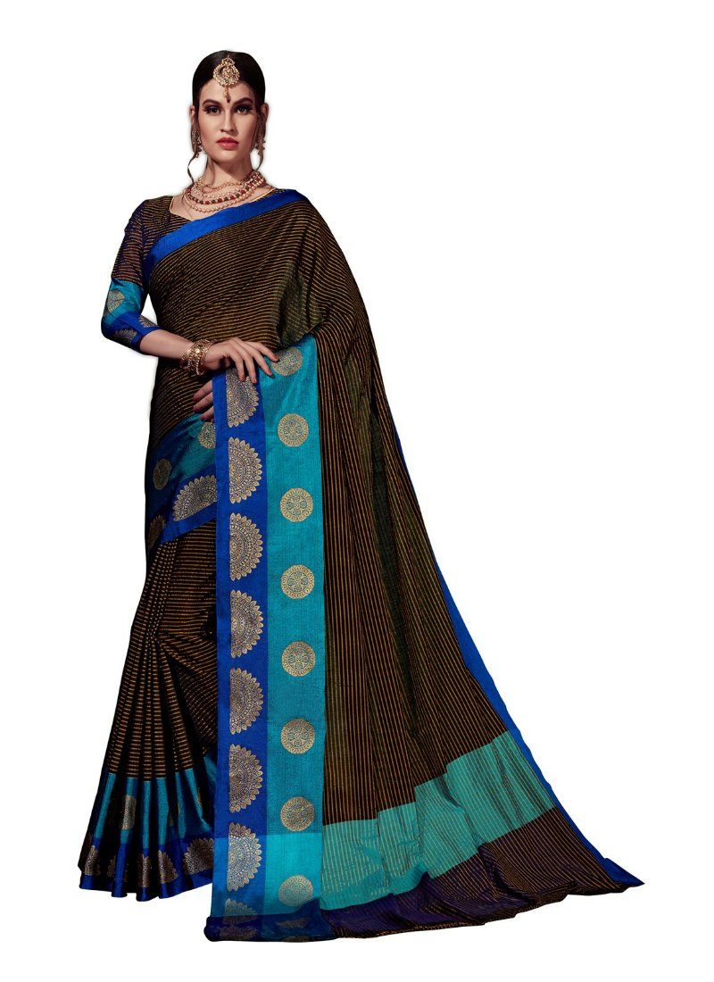 Generic Women's Cotton Art Silk Saree With Blouse (Black, 5-6 Mtrs)