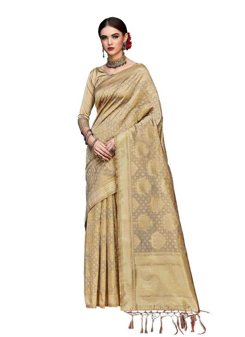 Generic Women's Banarasi Art Silk Saree With Blouse (Gold, 5-6 Mtrs)