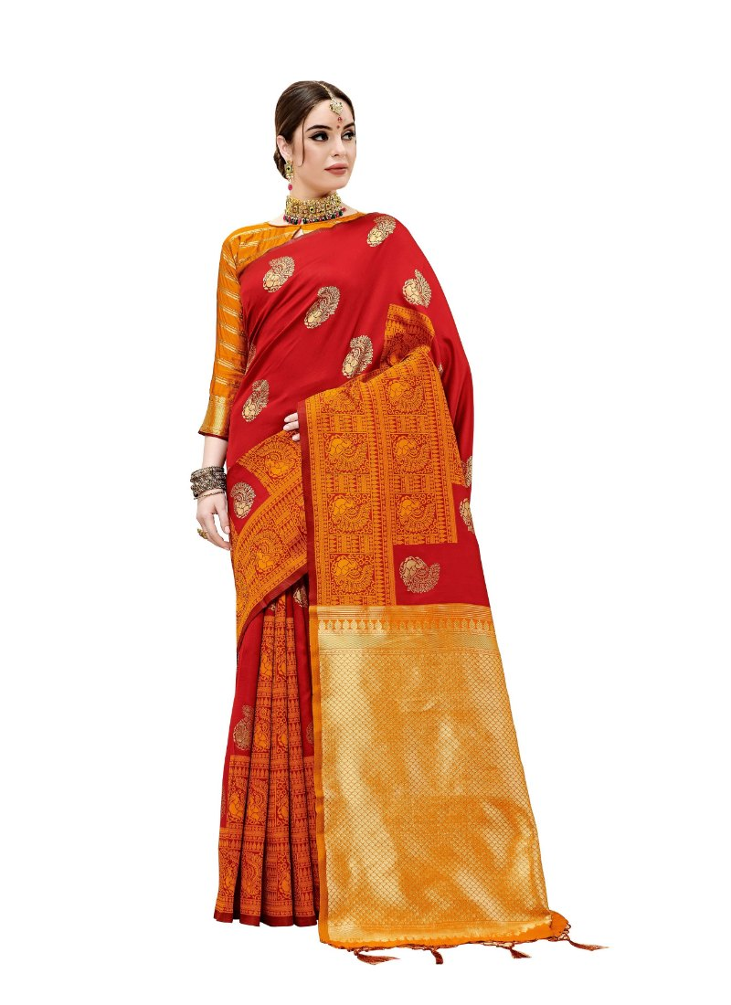 Generic Women's Kanjeevaram Art Silk Saree With Blouse (Maroon, 5-6 Mtrs)