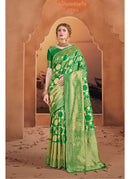 Generic Women's Tanchui Art Silk Saree With Blouse (Green, 5-6 Mtrs)