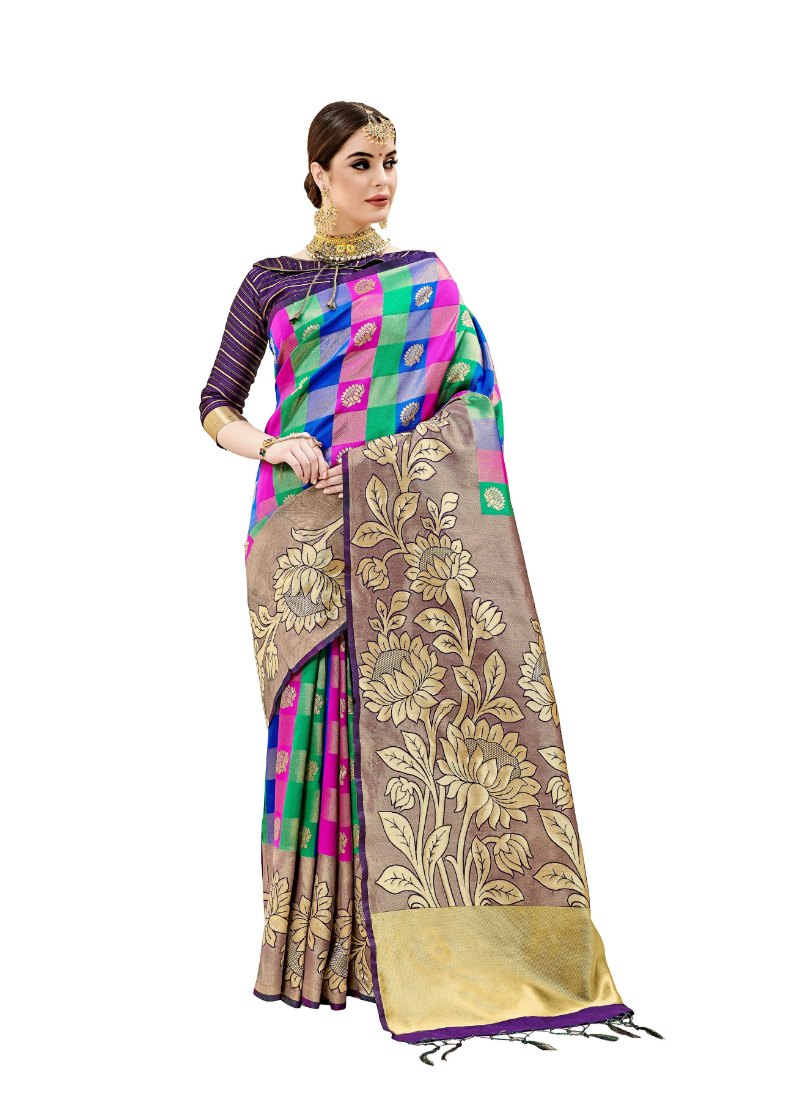 Generic Women's Kanjeevaram Art Silk Saree With Blouse (Violet, 5-6 Mtrs)