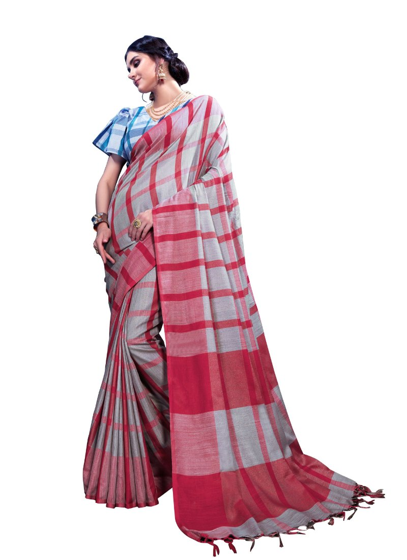 Generic Women's Linen Art Silk Saree With Blouse (Maroon, 5-6 Mtrs)