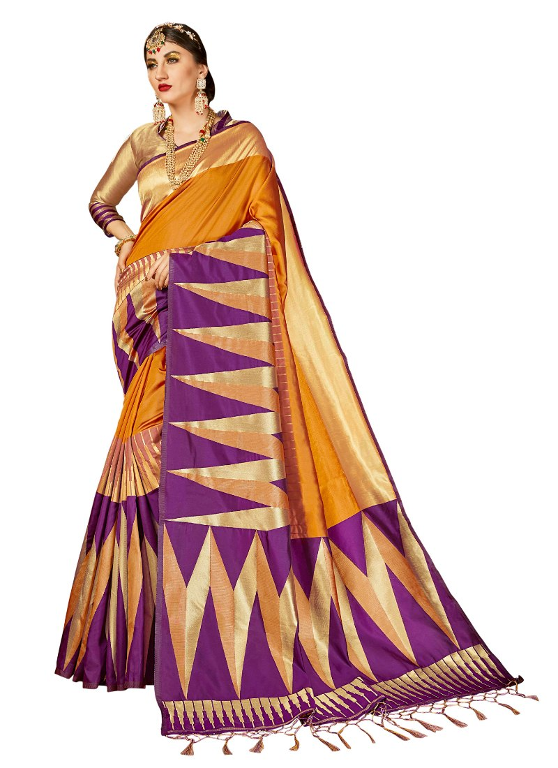 Generic Women's Kanjeevaram Art Silk Saree With Blouse (Mustard, 5-6 Mtrs)