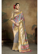 Generic Women's Banarasi Art Silk Saree With Blouse (Grey, 5-6 Mtrs)