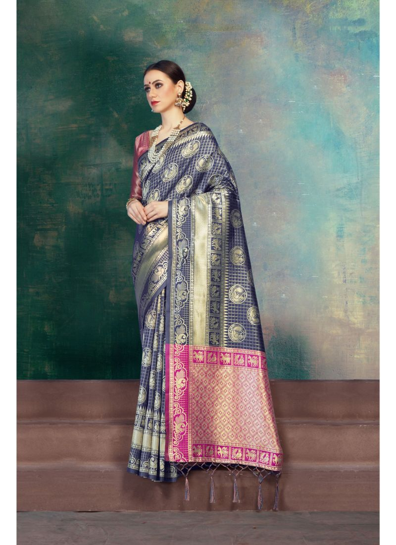 Generic Women's Kanjeevaram Art Silk Saree With Blouse (Blue, 5-6 Mtrs)