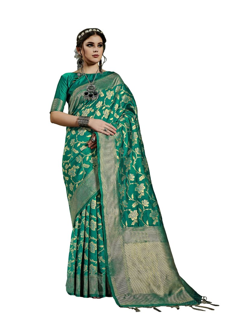 Generic Women's Kanjeevaram Art Silk Saree With Blouse (Green, 5-6 Mtrs)