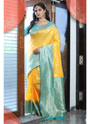 Generic Women's Tussar Art Silk Saree With Blouse (Yellow, 5-6 Mtrs)