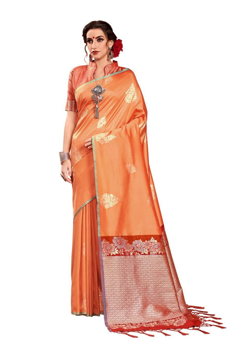 Generic Women's Kanjeevaram Art Silk Saree With Blouse (Orange, 5-6 Mtrs)