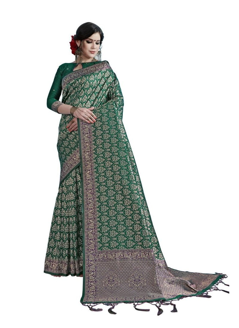 Generic Women's Tanchui Art Silk Saree With Blouse (Teal, 5-6 Mtrs)