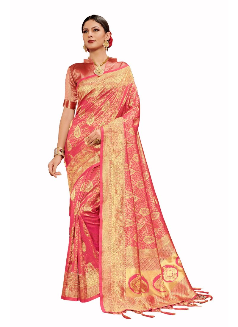Generic Women's Tanchui Art Silk Saree With Blouse (Coral, 5-6 Mtrs)