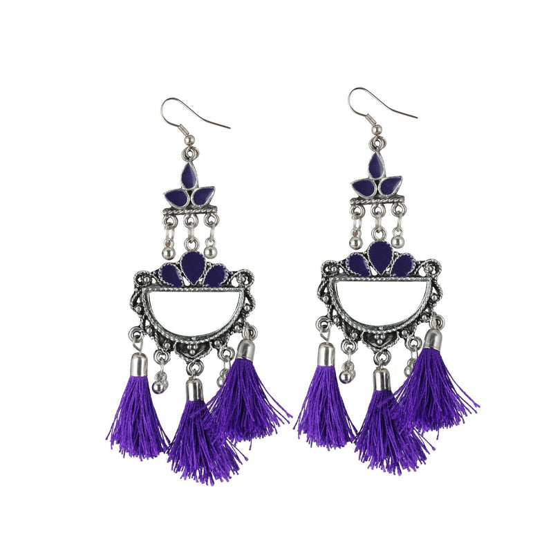 Generic Women's Silver Plated Afgani Tassel Earrings-Purple