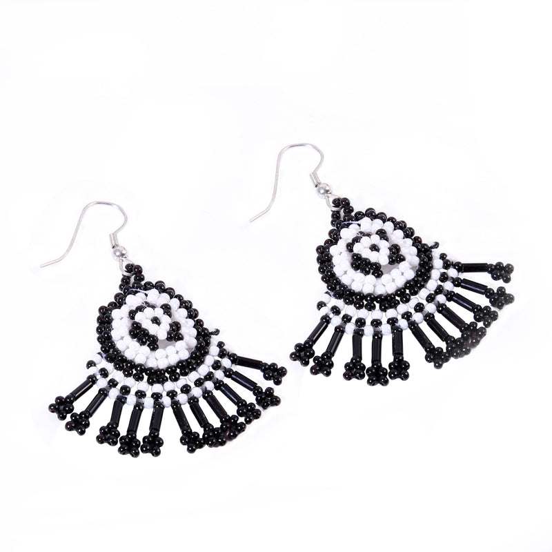 Generic Women's Alloy, Thread Hook Dangler Hanging Earrings-Black
