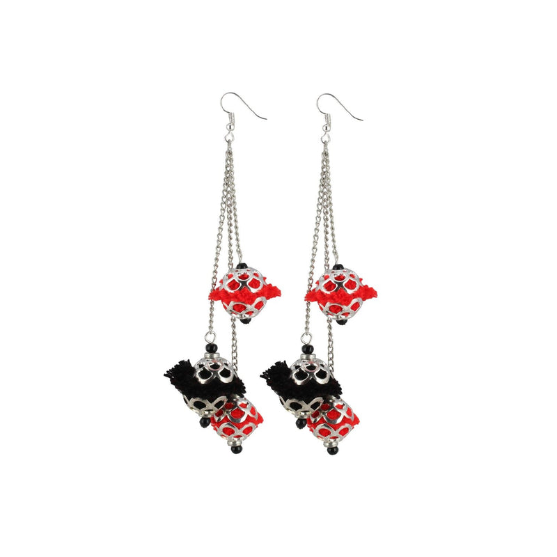 Generic Women's Oxidized Silver plated Hook Dangler Hanging Pom Pom Earrings-Silver