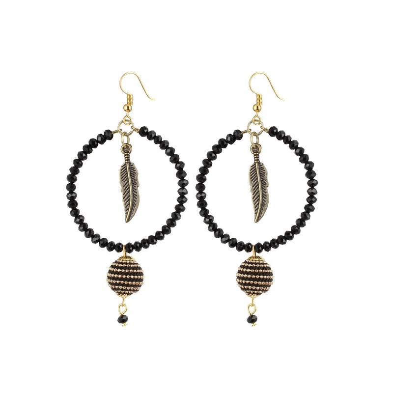 Generic Women's Alloy Leaf Design Tassel Earrings-Black