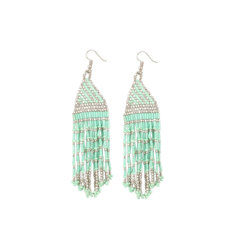 Generic Women's Alloy, Poth Beads Hook Dangler Hanging Earrings-Green
