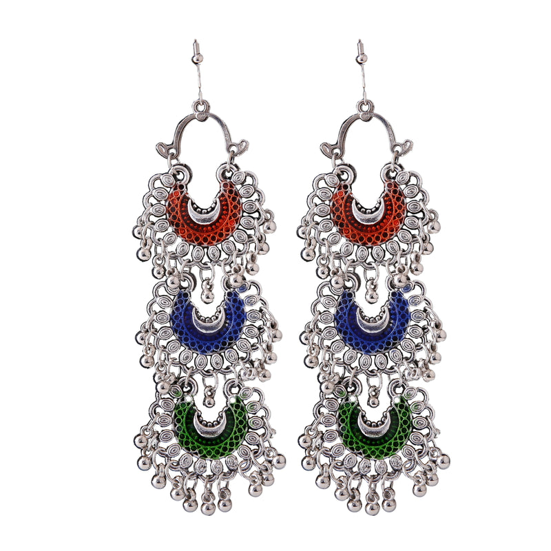 Generic Women's Silver Oxidized Hook Dangler Hanging Fashion Earrings-Multicolour