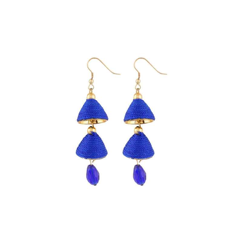Generic Women's Thread Hook Dangler Hanging Jhumki Earrings-Blue