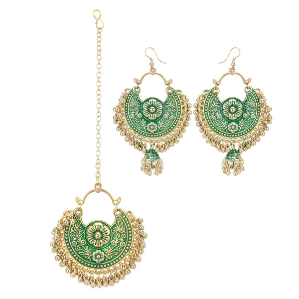 Generic Women's Gold Oxidized Earrings and  Maang Tikka-Green