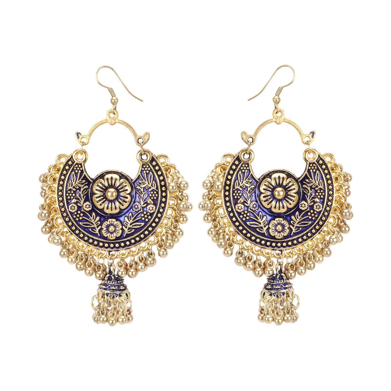 Generic Women's Gold Oxidized Earrings and  Maang Tikka-Blue