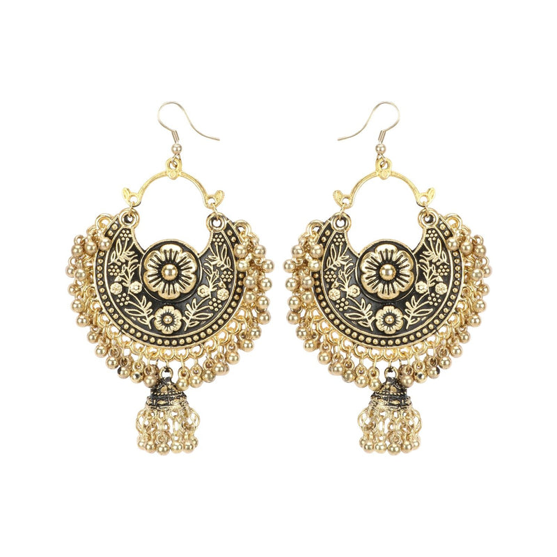 Women's Gold Oxidized Earrings and  Maang Tikka-Black