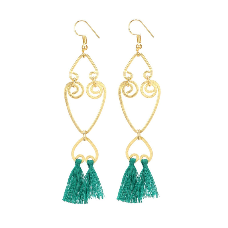 Generic Women's Oxidized Gold  plated Hook Dangler Hanging Tassel Earrings-Gold