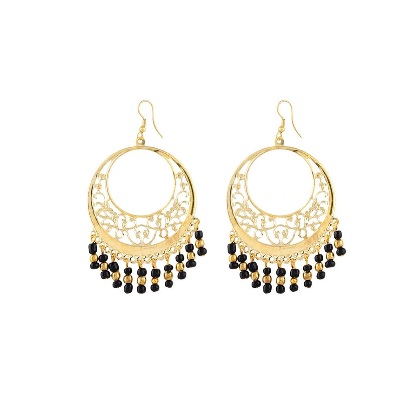 Generic Women's Alloy, Beads Hook Dangler Hanging Earrings-Golden