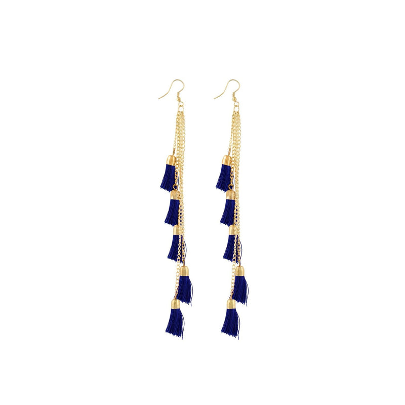 Generic Women's Alloy, Beads Hook Dangler Hanging Earrings-Blue