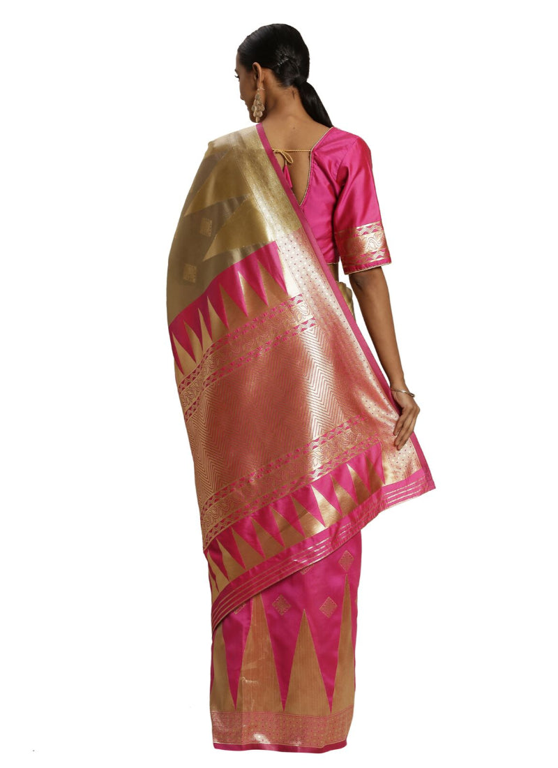 Women's Banarasi silk Saree with Blouse (Pink,beige, 5-6mtr)