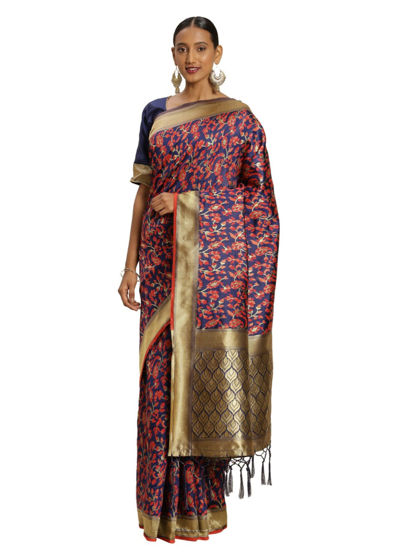 Women's Banarasi silk Saree with Blouse (Multi, 5-6mtr)