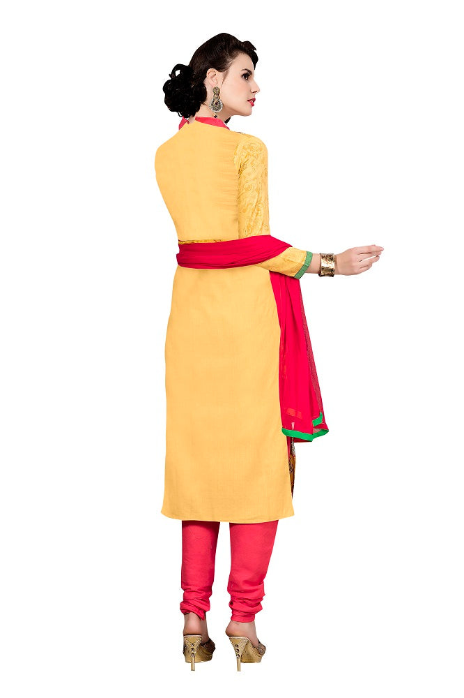 Yellow Cotton Embroidered Party Wear Dress Material