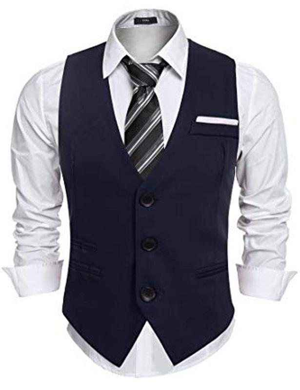 Navy Blue Color Classy Solid Polycotton Men's Waistcoat