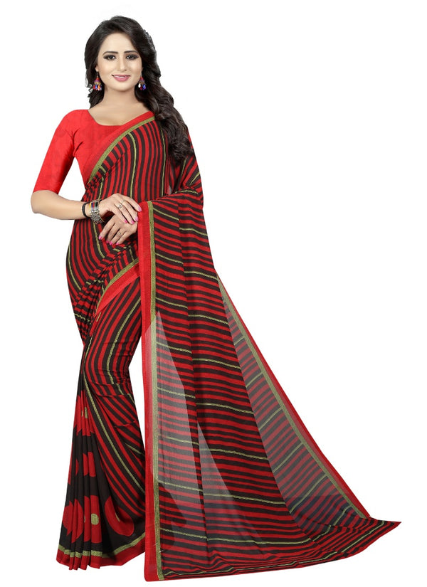 Women's Georgette Sarees Saree (Maroon, 5-6 Mtrs)