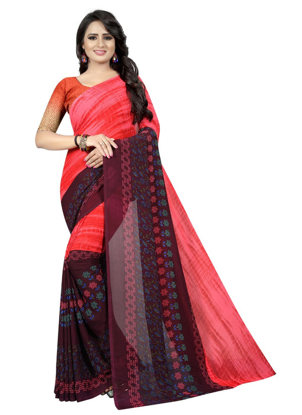 Women's Georgette Sarees Saree (Pink, Black, 5-6 Mtrs)