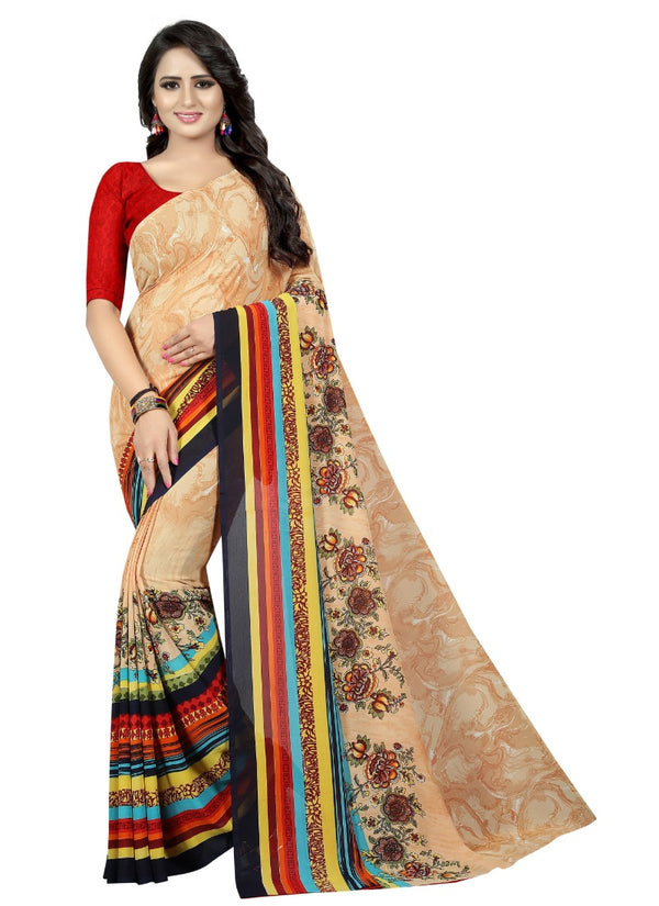 Women's Georgette Sarees Saree (Brown, 5-6 Mtrs)