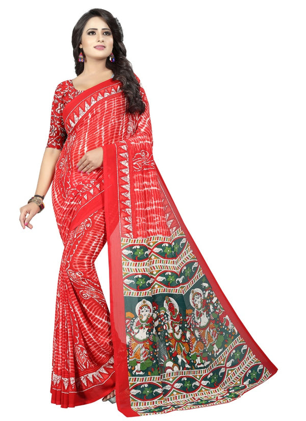 Women's Georgette Sarees Saree (Pink red, 5-6 Mtrs)