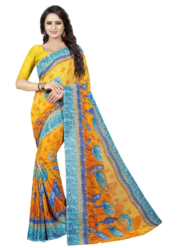 Women's Georgette Sarees Saree (Yellow, Blue, 5-6 Mtrs)