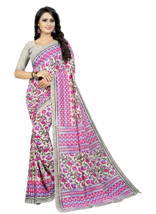 Women's Georgette Sarees Saree (Pink, 5-6 Mtrs)