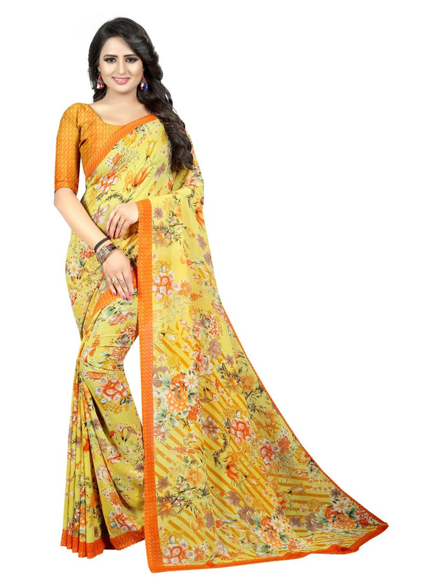 Women's Georgette Sarees Saree (Yellow, 5-6 Mtrs)