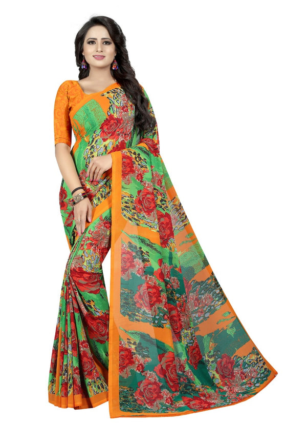 Women's Georgette Sarees Saree (Green, 5-6 Mtrs)