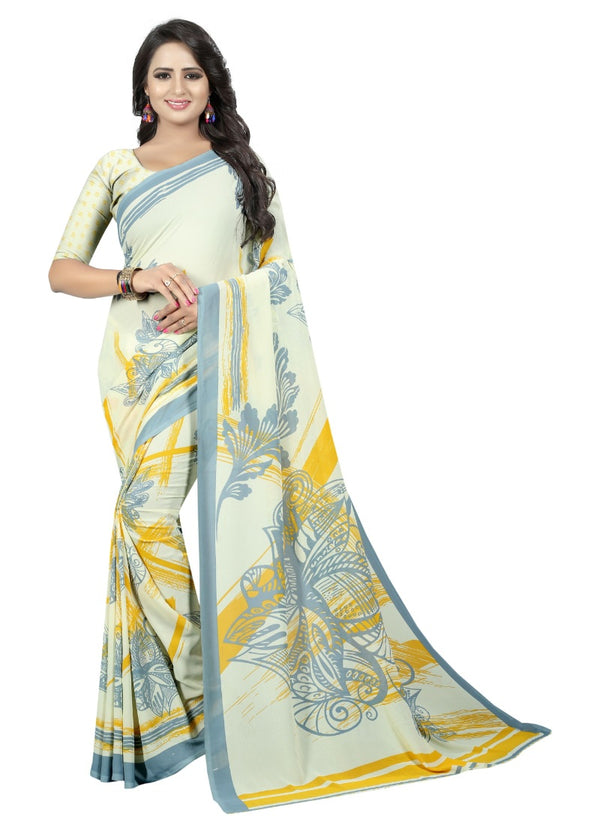 Women's Georgette Sarees Saree (Light Yellow, 5-6 Mtrs)