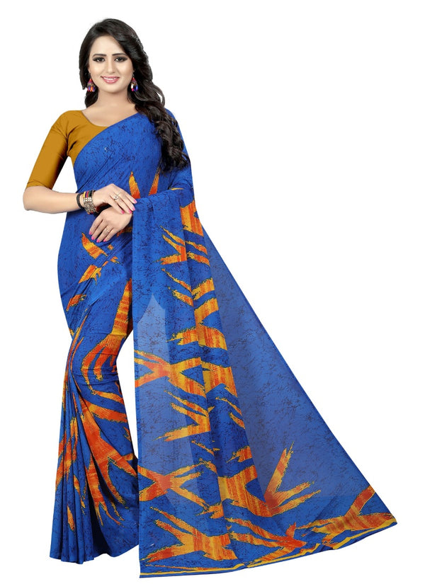 Women's Georgette Sarees Saree (Blue, 5-6 Mtrs)