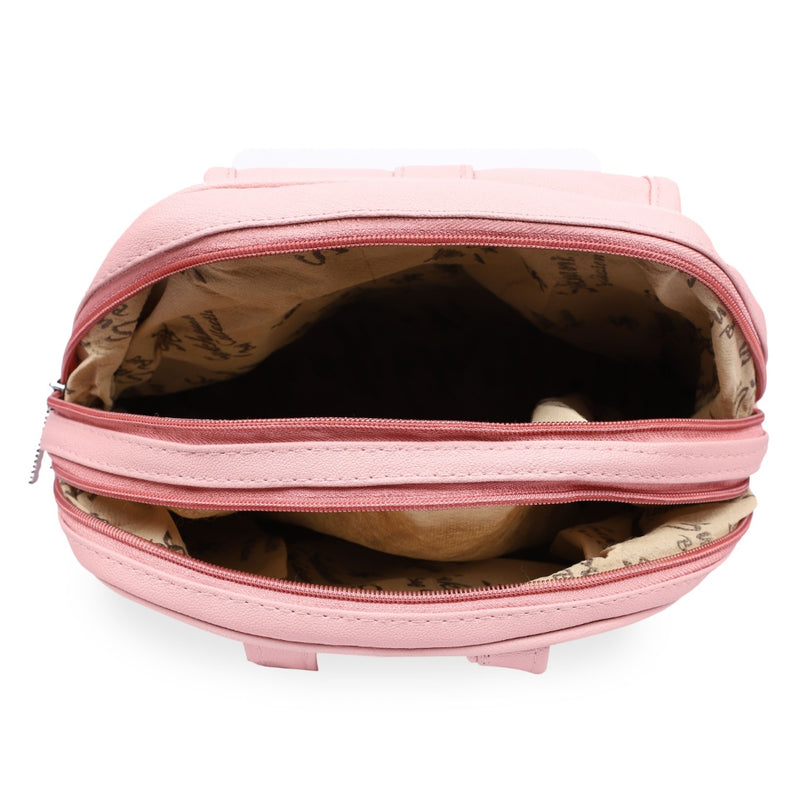 Women's Faux Synthetic Leather Sling Bag (Pink)